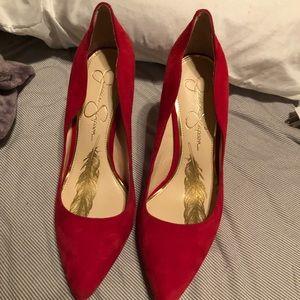 Jessica Simpson Red velvet heels